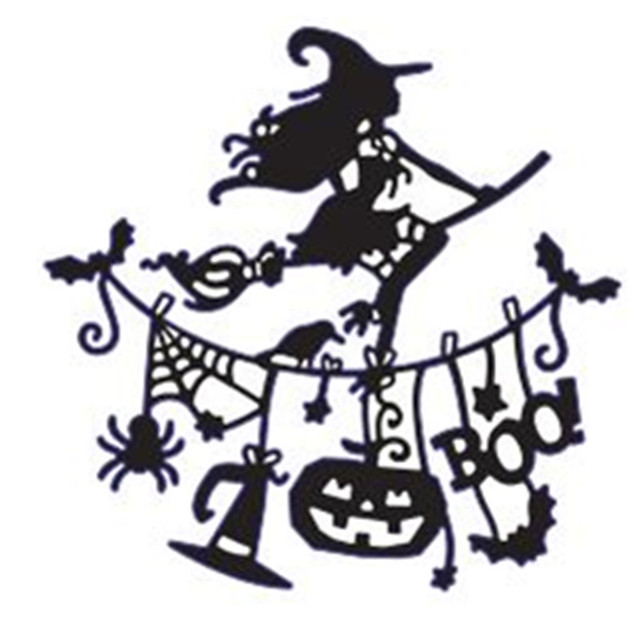 halloween flying witch pulling flag metal cutting dies stencil for diy scrapbooking paper cards decorative craft