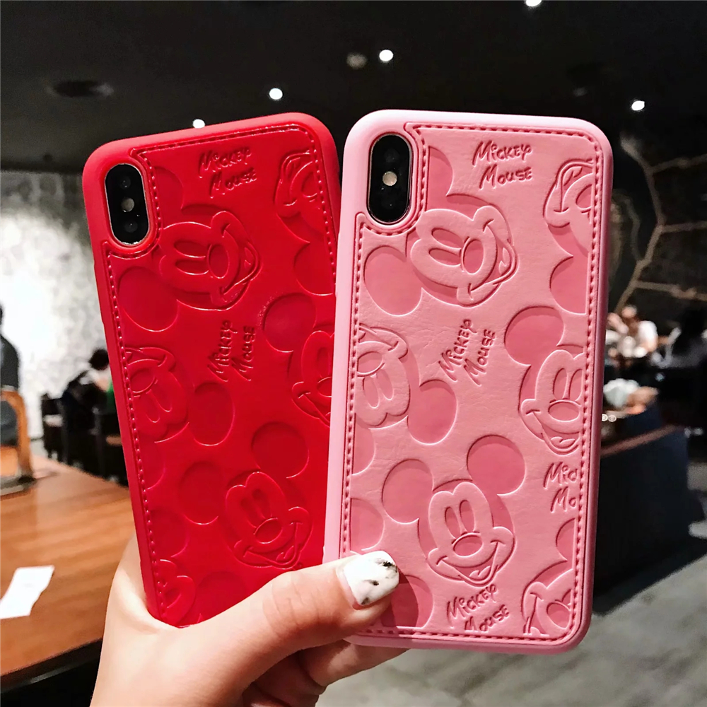 Person - Cartoon Mickey Minnie Mouse Leather Case For iPhone 8 7 6 6S Plus X Xs Max XR 3D embossing Disneys Painting Soft leather Cover