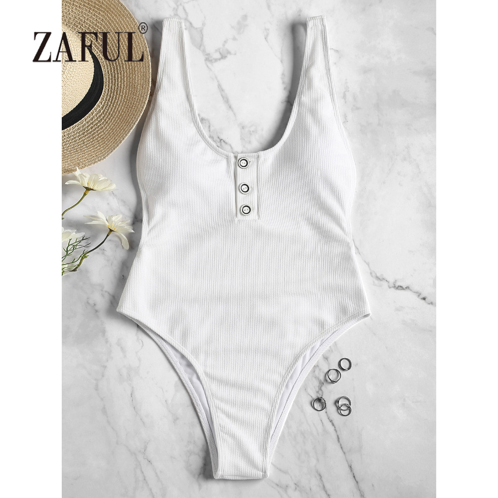 ZAFUL Open Back Women Swimsuit Buttons High Leg One Piece Swimwear Ribbed Texture Swimming Suit Sexy Scoop Neck Bathing Suit zaful new women onepiece swimsuit stripe high leg one piece swimsuit women swimwear spaghetti straps padded bathing suit beacher
