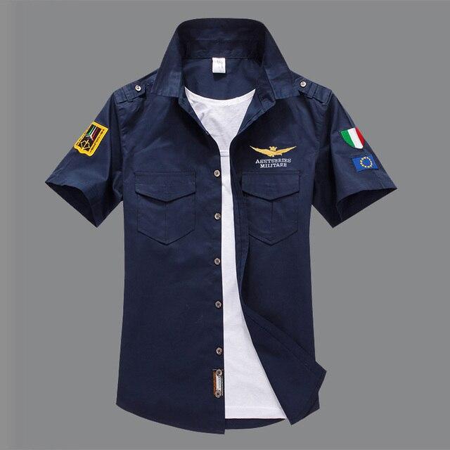 Для мужчин повседневная Италия армии ВВС рубашка с коротким рукавом Aeronautica Militare Футболка для мальчиков camisas hombre masculina S-4XL, 5XL, 6XL человек