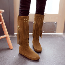 2016 plus size ladies fashion winter knee high botas mujer flat heel long bottes femmes women's moon furry snow boots 5512