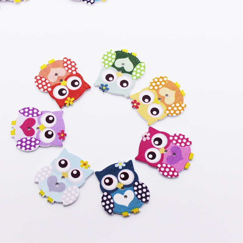 DIY  20//50//100 pcs Retro Owl Pattern Wooden Buttons For Sewing Scrapbook Crafts