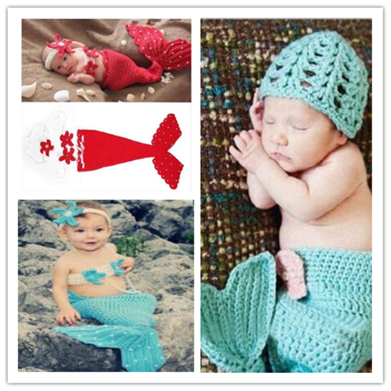 0-12 month Crochet Knit Newborn Mermaid Tail Costume Baby Photography Props Clothes Animal Design Newborn Studio Accessories