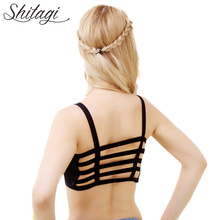Shitagi Fashion Sexy Women Cotton Hollow Back Shirt Tank Top Padded Bra Wrap Vest Chest Bra Crop Tops