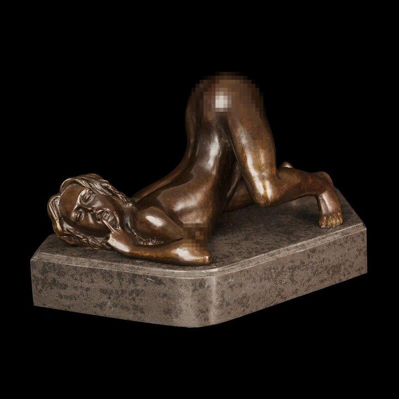 ATLIE BRONZES  Pure Handmade Casting Bronze Libidinal Nude Woman Sexy Statue Figurines HOME DECOR
