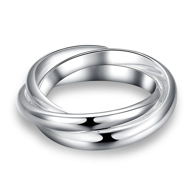 Christmas Gift Wholesale Mens Silver Ring Fine Fashion 925 Jewelry Three Circles