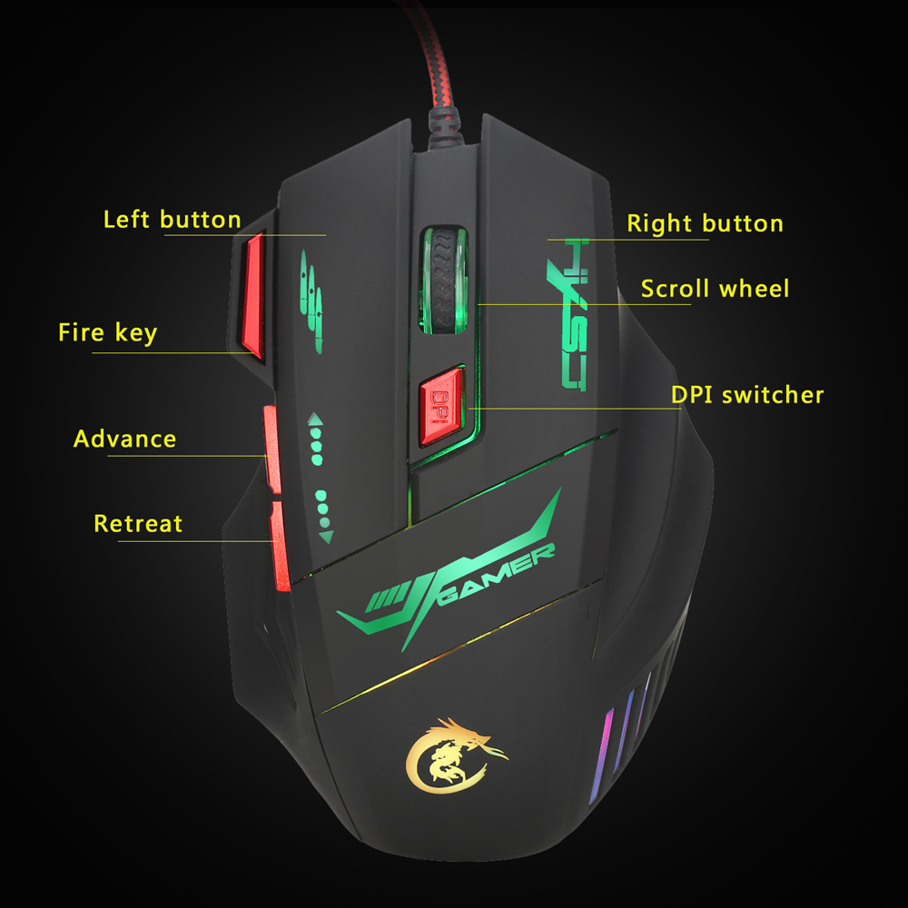 HXSJ H100 Gaming Mouse USB Wired Optical Game Mouse 5500 DPI Adjustable 7 Buttons 7 Colors LED Backlight For Gaming Lover