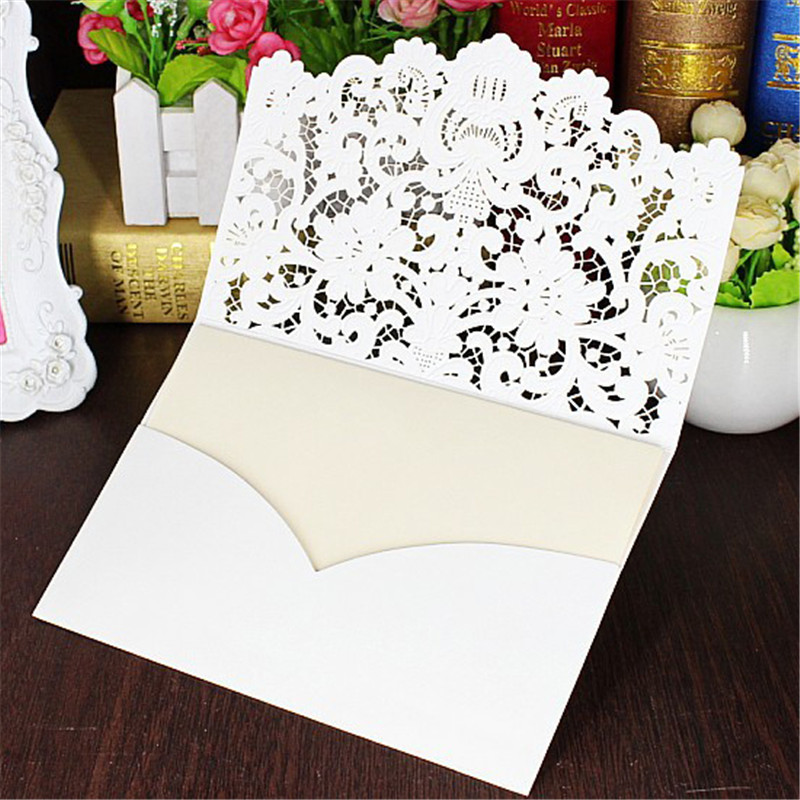 5pcs/set White Hollow Lace Cut Wedding Invitations Card Folded Embossed Flowers Invitation Printable Cards with Envelope & Seal square design white laser cut invitations kit blanl paper printing wedding invitation card set send envelope casamento convite