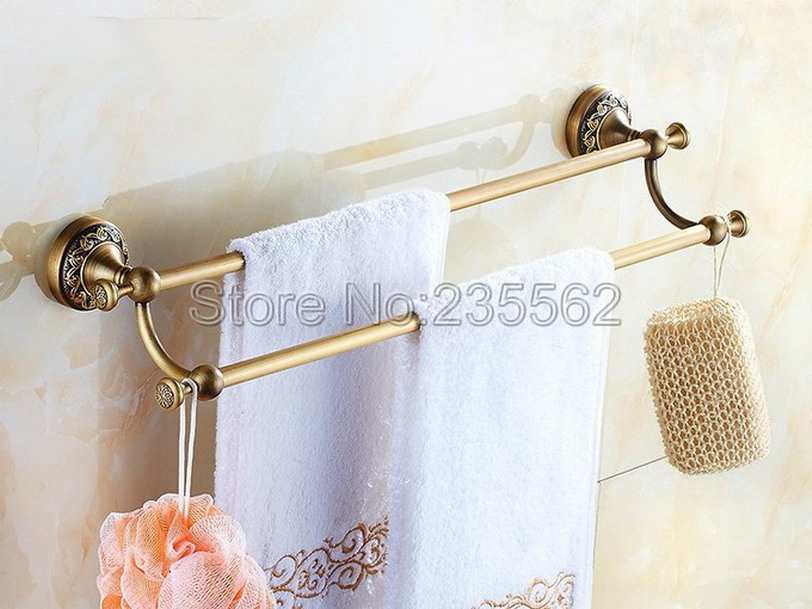 Antique Brass Carved Base Wall Mounted Towel Rack Bathroom Accessories Double Towel Bar Holder lba483 купить