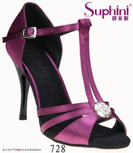 FREE SHIPPING Suphini New Arrival Dance Shoes Purple Woman Party Dinner Prom Shoes Big Crystal Tango Dance Shoes