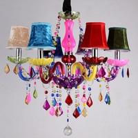 Romantic Cafe chandelier color KTV bar crystal chandelier lighting clothing store beauty salon girl bedroom Crystal Chandelier