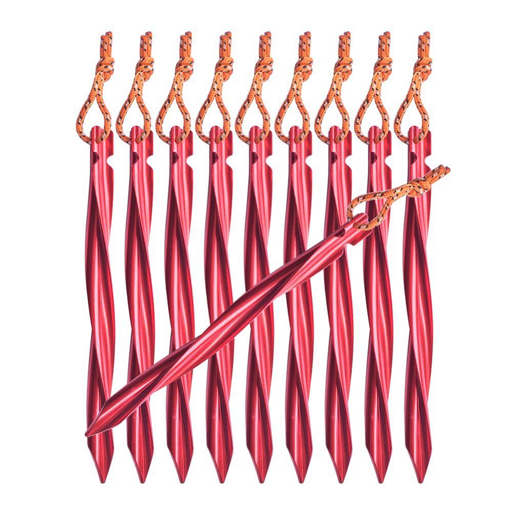 6pcs Spiral Tent Stakes 25cm Aluminum Alloy Swirled Shape Tent Pegs With Pull Cords Tent Accessories Equipment