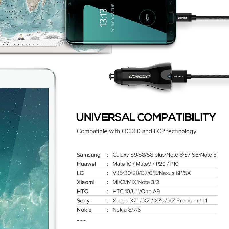Ugreen 36 W автомобиля USB Зарядное устройство двойной Быстрый 3,0 заряда для iPhone Xiaomi huawei USB быстро Зарядное устройство для samsung S9 S8 автомобильный телефон Зарядное устройство