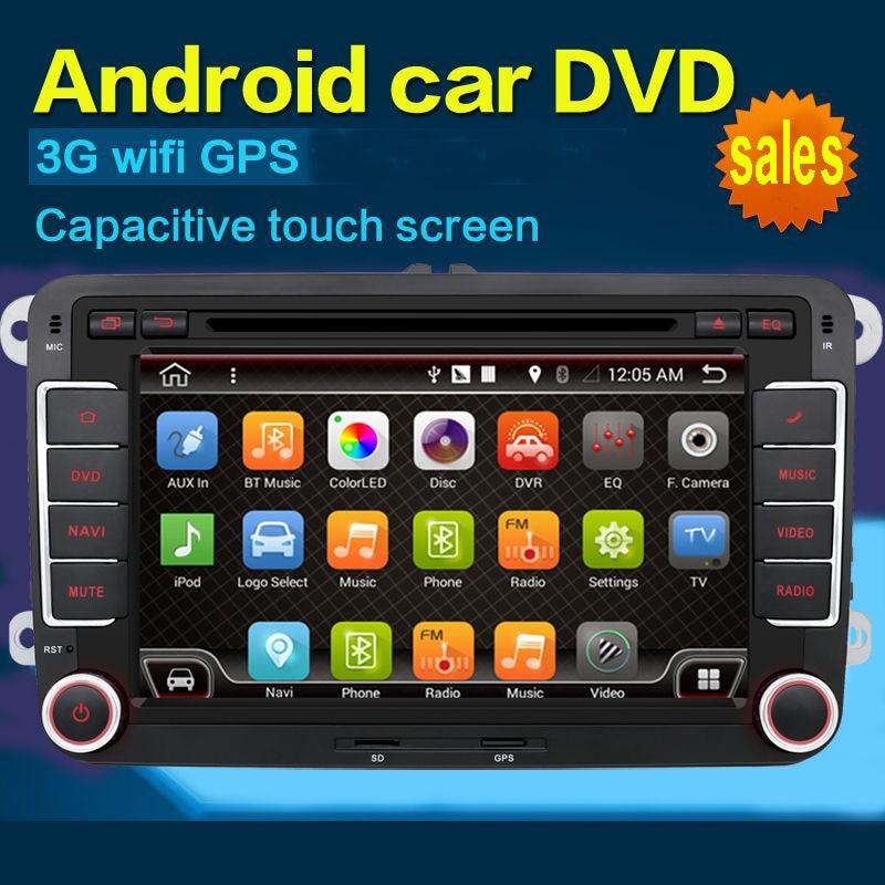 """2 din 7 """"עבור VW אנדרואיד 7.1 רכב נגן DVD עבור גולף 5 גולף 6 פולו פסאט CC JETTA טיגואן טוראן EOS עם GPS WiFi + משלוח חינם"""
