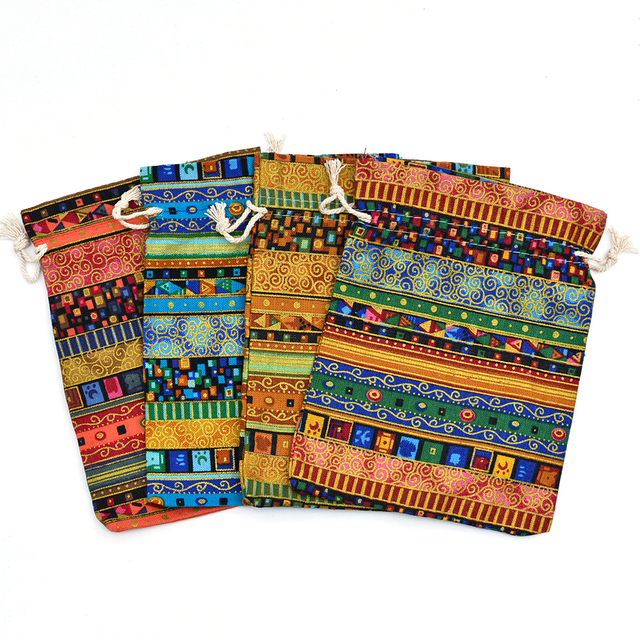 d7775b436a 10x14cm Multicolor Tribal Tribe Cotton Linen Drawstring Bags Candy Gift  Beads Jewelry Bags Wedding Favors Pouches For Storage