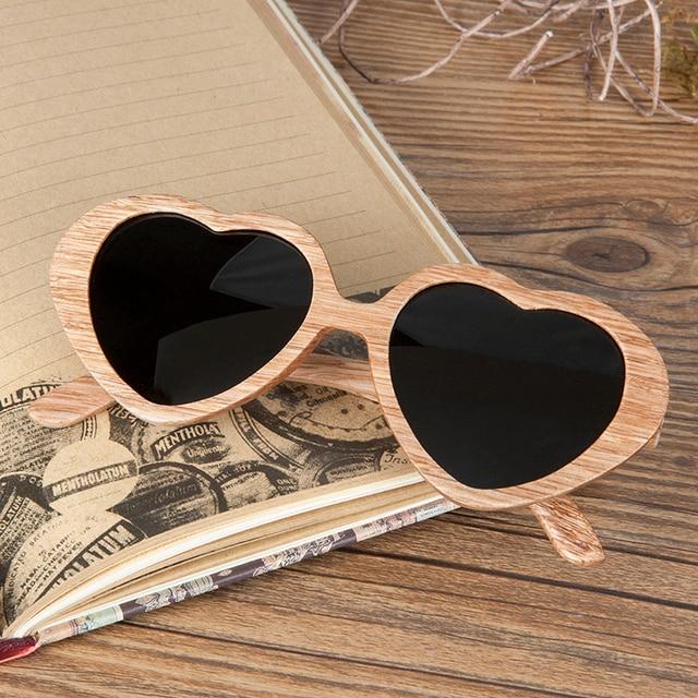 BOBO OISEAU Top Marque Polarisées Poire Bois lunettes de Soleil Femmes en  forme de Coeur lunettes 25323890f020
