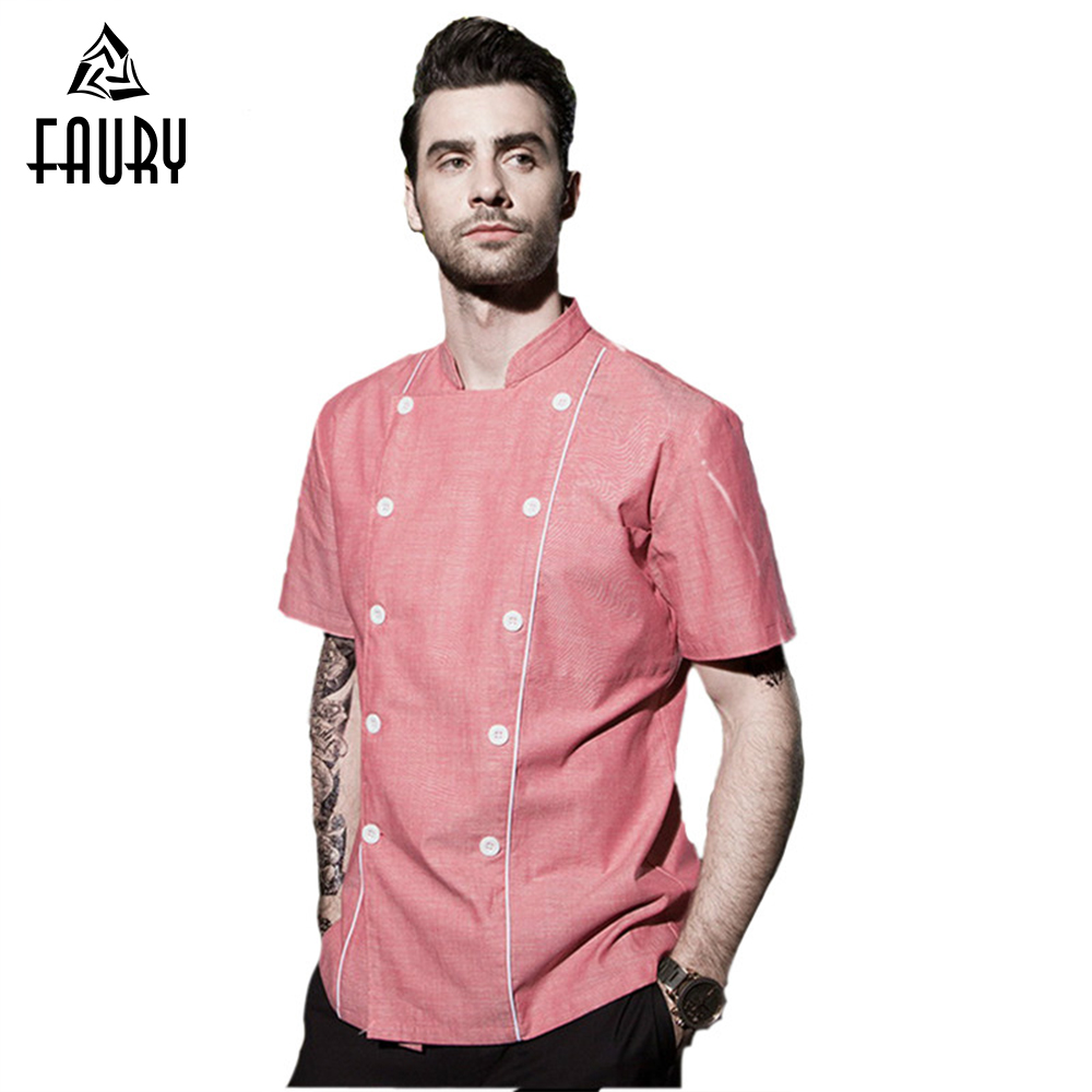 High Quality Chef Uniforms Food Services Short Sleeve Men Cooking Jackets Overalls Restaurant Hotel Working Wear Clothes