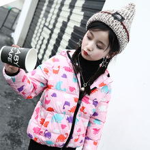 2017 Winter Kids Cotton Coat Warm & Light Hooded Parkas Boys Girls Fashion Cartoon Casual Clothing