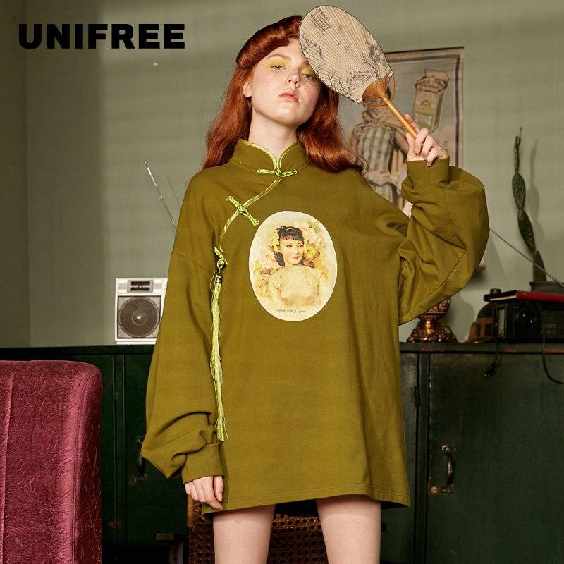 UNIFREE 2019 Autumn New Arrival Hoodies Women Retro Character Patterns Collar Button Greeb Top Loose Streetwear Women U192G221HA