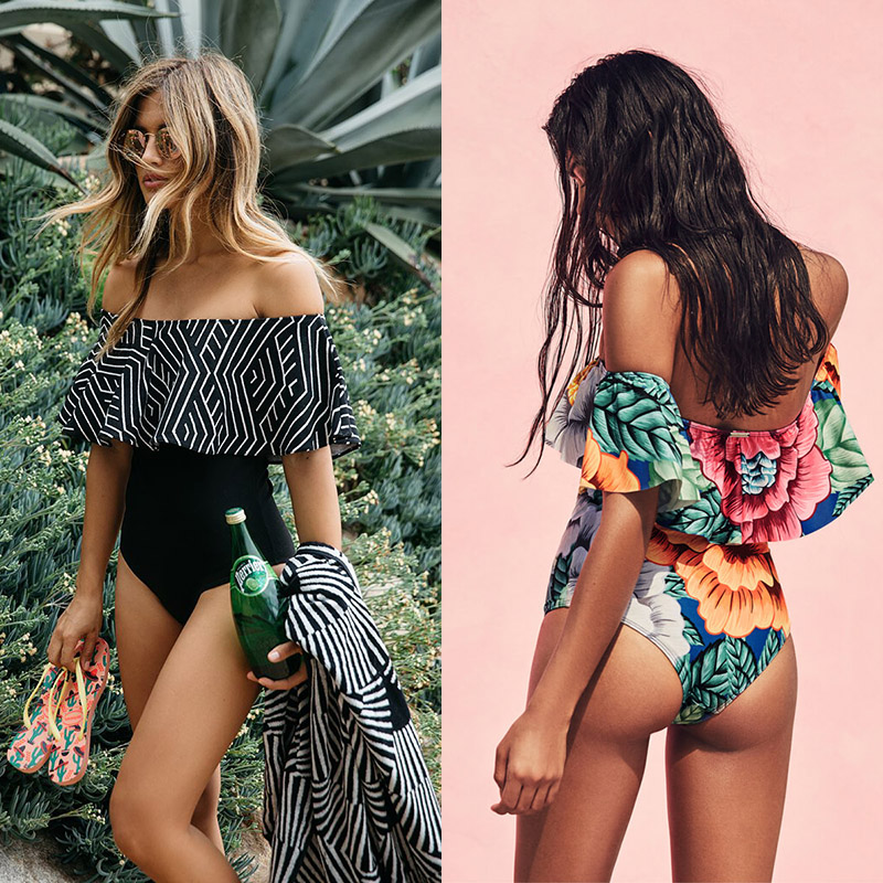 May Swimsuit Women 2018 One Piece Ruffle Swimwear Female One-Piece Suits Bathing Suit Maillot Padded Miao Beach Bathers Summer female summer beach bikini women swimwear one piece swimsuit bathing suit stripe swimming pool bodysuits woman tank suit maillot