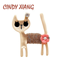 CINDY XIANG cute alloy cat brooches for women kids girls fashion animal pin carton style kitty summer jewelry bag badges