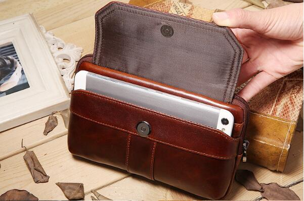Waist Pack Men Bag Brown Belt Bag Fanny Pack Genuine Leather Cowhide Retro Mobile Phones Bags for Galaxy S10 Note 9 s9plus s8+
