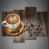 4 Panels Unframed Wall Art Pictures Brown Coffee Cup Canvas Print Modern Food Posters No Frames For Living Room Decor