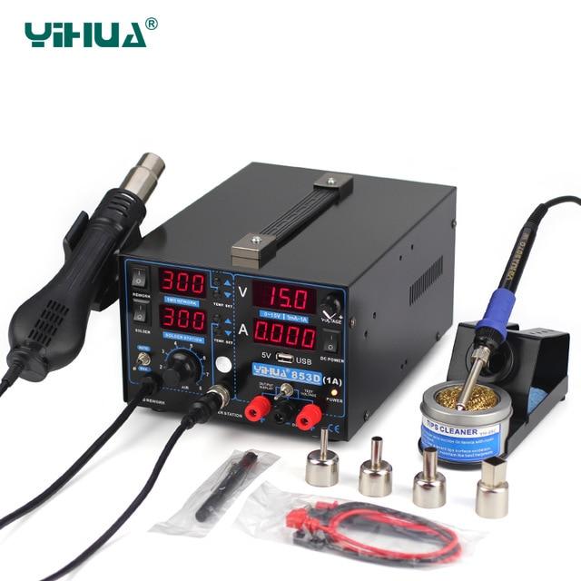 YIHUA 853D 1A USB SMD DC Alimentation Pistolet À Air Chaud Fer À Souder Retravailler Station De Soudure 110 v/220 v Prise UE/USA