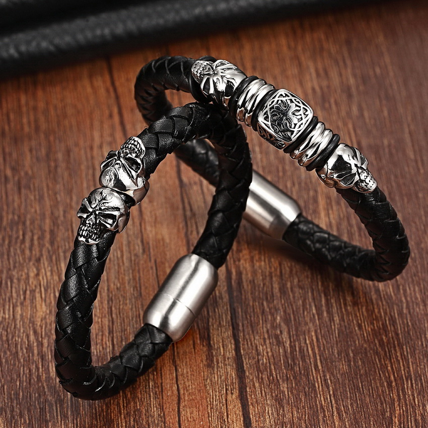 Top Quality Charm Leather Bracelet For Women Stainless Steel Bohemia Genuine Leather Bracelets & Bangles Vintage Men Jewelry