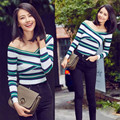 Women Pullover 2017 Autumn Slash Neck Long Sleeve Contrast Color Stripe Pattern Knitted Crochet Sweater Red Green Khaki YY468