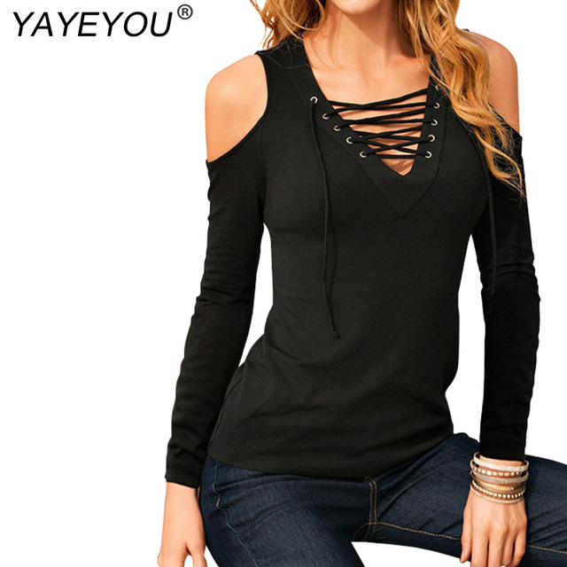 a875ff703b539e YAYEYOU 2XL Sexy Shirt Women Casual Lace Up V neck Blouse Off Shoulder Long  Sleeve Slim Summer Tops Plus Size White Black Shirts