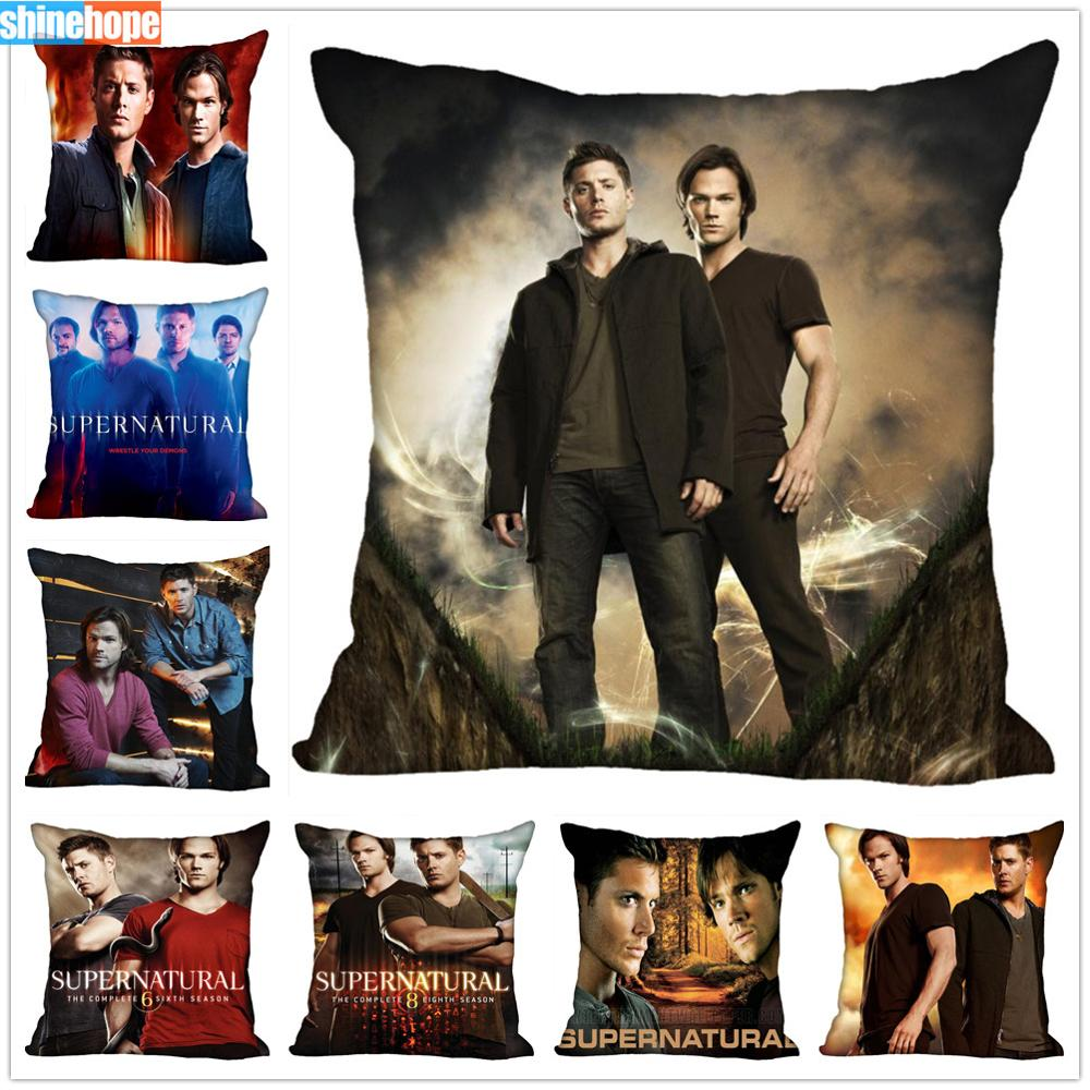 Custom TV Show Pillow Cases Supernatural Season Square Pillowcase Christmas Zippered Pillow Cover 40*40cm,45*45cm(One Side)