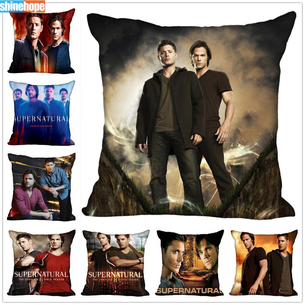 Custom TV Show Pillow Cases Supernatural Season Square Pillowcase Christmas Zippered Pillow Cover 40*40cm,45*45cm(One Side)