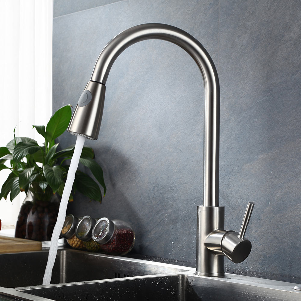 Sus304 Stainless Steel Kitchen Faucets Brushed Mixer Water: Pull Out Kitchen Faucet SUS 304 Stainless Steel Brushed