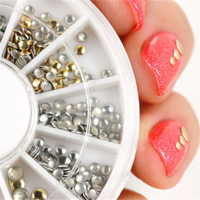 Nail Art Glitter Gold And Silver Rhinestone Decoration
