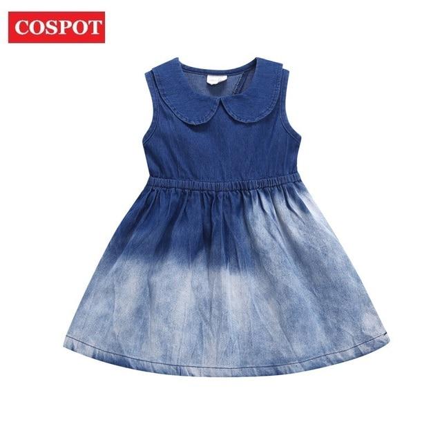 7371d3a8da1 COSPOT Baby Girls Denim Dress Summer Peter Pan Collar Princess Dresses for Girl  Baby Girl Clothes Girls Clothes 2019 New 33