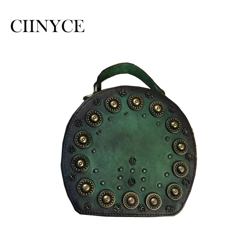 Women Totes Bag Fashion Circular Genuine Leather Retro Metal Rivets Handbag For Girl Small Round Lady Shoulder Messenger Bags