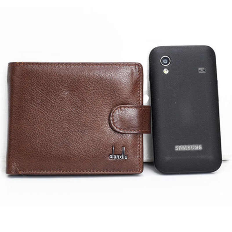 wallet men 100% genuine leather wallets men  real leather purse with coin pocket trifold wallet male clutch purse zipper TOP !