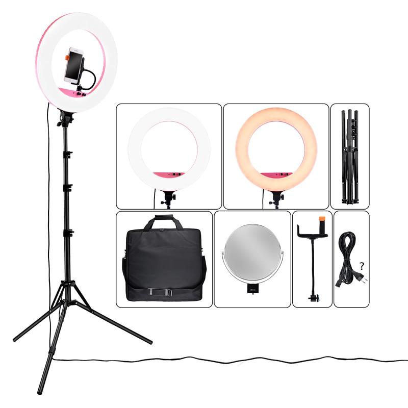 Fosoto 18 pouce LF-R480 Bi-couleur éclairage photographique 3200-5800 K 80 W Led LIght Ring Lamp & trépied Stand Miroir Pour Téléphone Appareil Photo