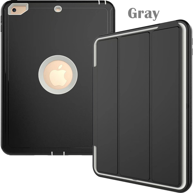Gray Heavy smart case with 3stand for iPad 9.7 (2017, 2018, A1822, A1893)