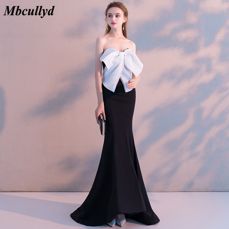 Mbcullyd New Design Mermaid   Bridesmaid     Dresses   Sweetheart Backless Big White Bow Maid of Honor Wedding Guest Party Gowns