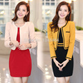 M-3XL free shipping wholesale womens casual suits spring&fall new O-neck plus size OL Slim coat 2 piece set women crop top+dress