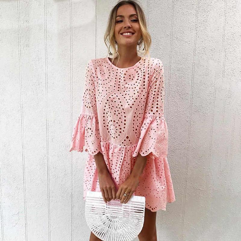 Sukienka letnie sukienki 2020 jednokolorowe okrągłe wycięcie pod szyją rękaw 3/4 zagranicznych przycisk koronki potargane kobiety sukienka vestidos ONY0841