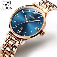JSDUN Rose Gold Blue Watch Women Watches Ladies Steel Women's Bracelet Watches Female Clock Relogio Feminino Montre Femme