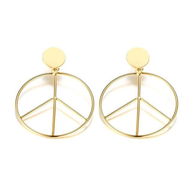 Fashion Hoop Earrings Gold Peace Sign In Stainless Steel