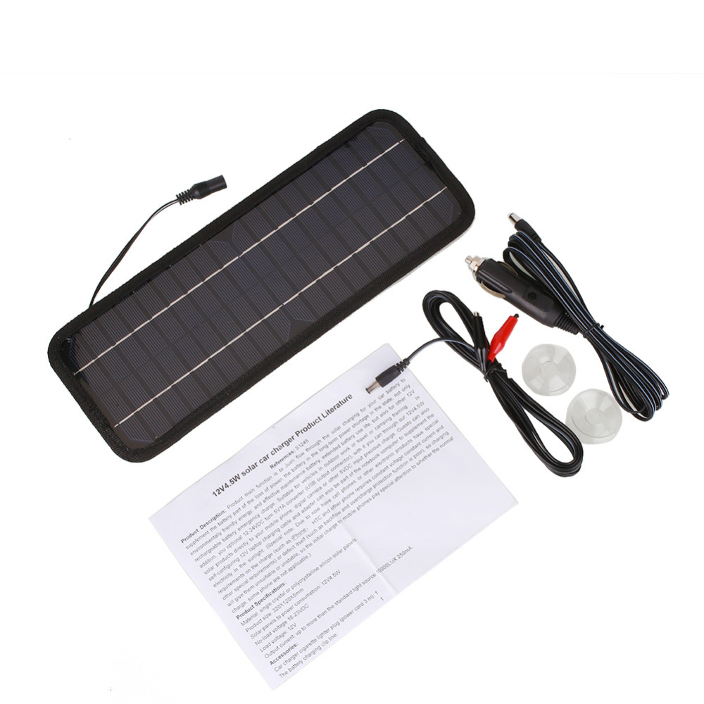 High quality Monocrystalline Solar Panel 12V 4 5W Car Automobile Portable Solar Cells Rechargeable Power Battery Charger in Power Adapter from Automobiles Motorcycles