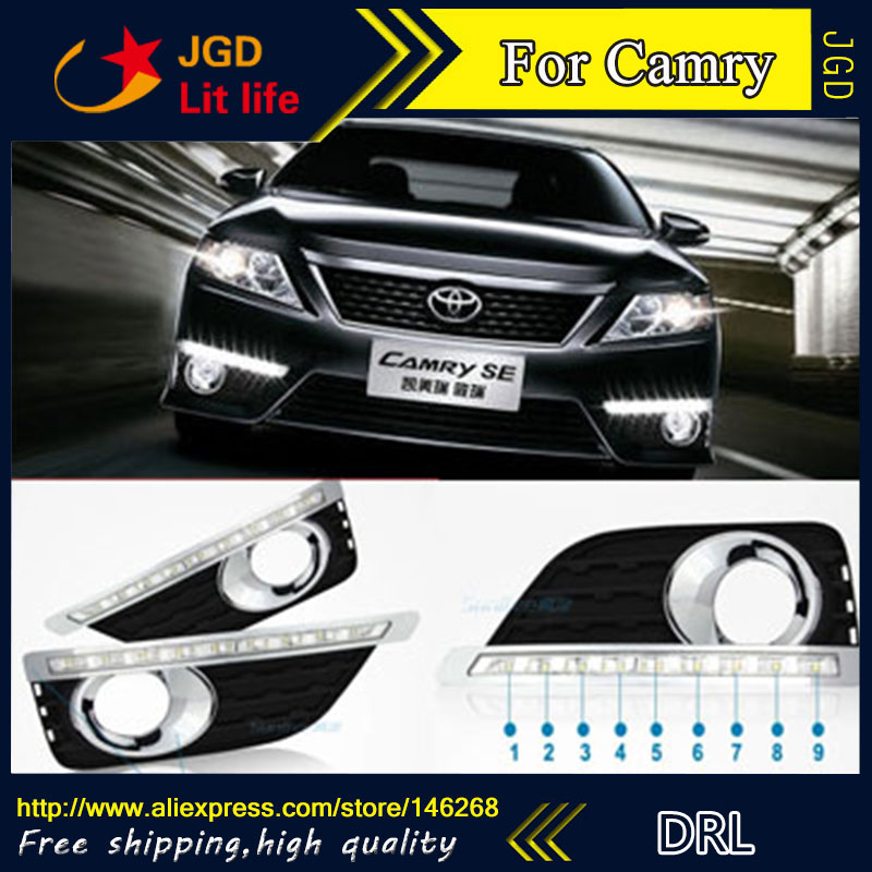 Free shipping ! 12V 6000k LED DRL Daytime running light for Toyota Camry 2012 2013 fog lamp frame Fog light Car styling