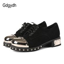 Gdgydh Sexy Rivet Women Gothic Shoes Mid Heel Metal Decoration Platform Heels Ladies Pumps Genuine Leather Chunky Heels Lace Up