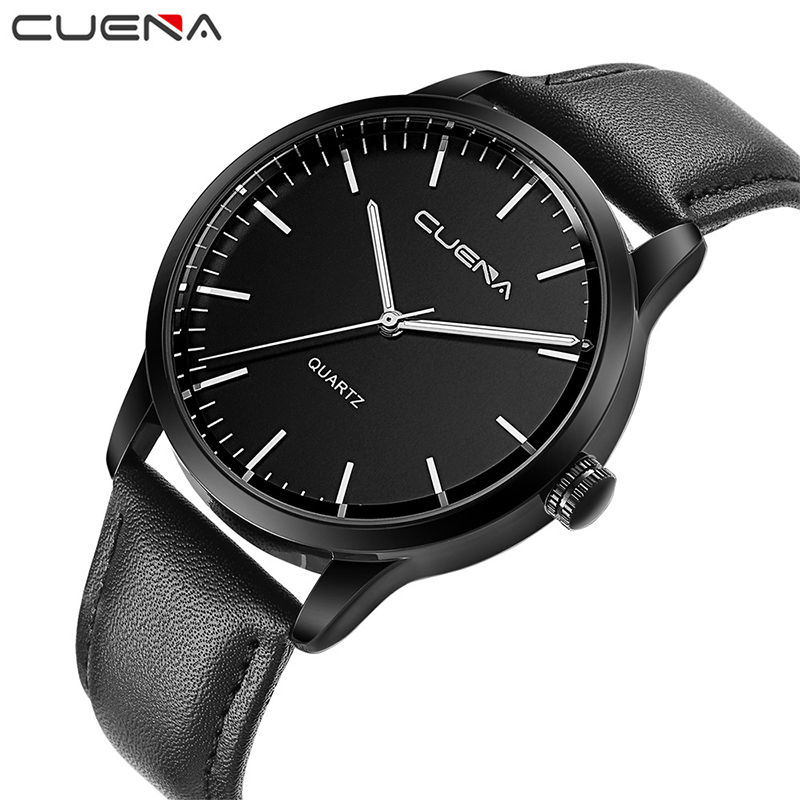 CUENA Fashion Casual Men Quartz Watch Black Genuine Leather Mens Watches Wristwatches 30M Waterproof Relogio Masculino 6608 цена и фото