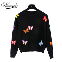 Hiqh quality European Style New Fall Winer Women Butterfly luxury knitting sweater Warm Casual Pullover tops WS-012